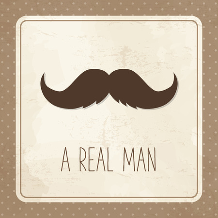 Vintage greeting card for man, mustache Vector