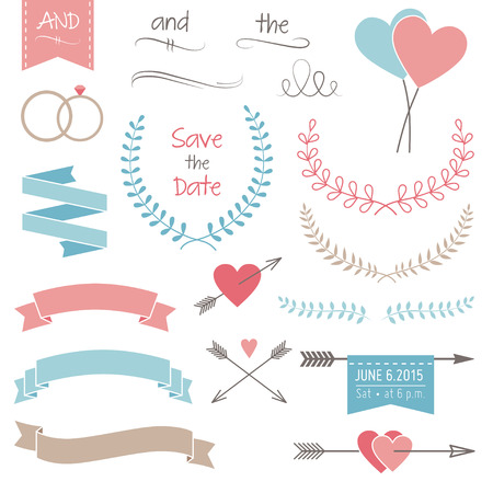 Wedding graphic set, arrows, hearts, laurel, wreaths, ribbons and rings Vector