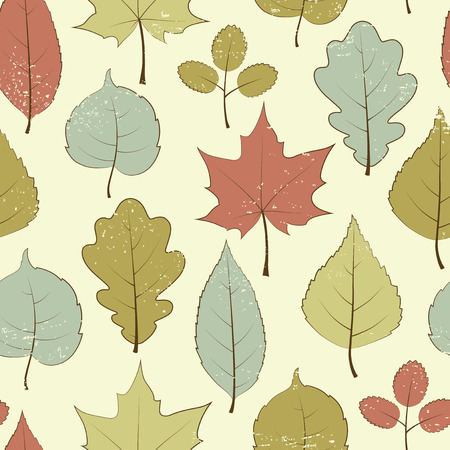 Vintage seamless pattern, autumn leaves Vector