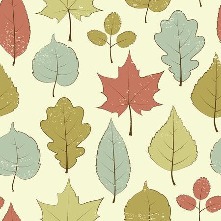 Vintage seamless pattern, autumn leaves Illustration