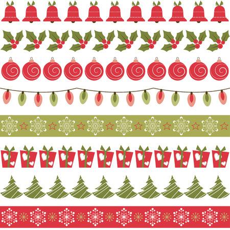 boldog karácsonyt: Karácsonyi határok Illusztráció