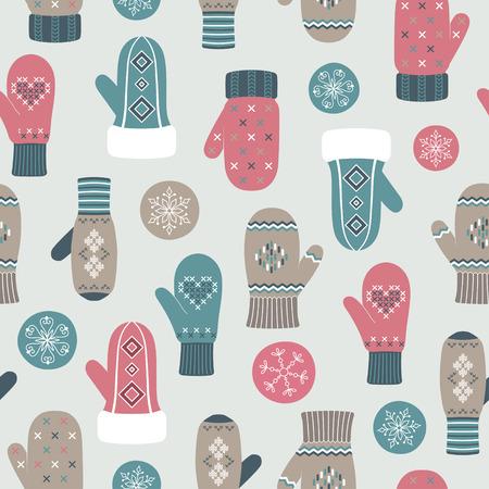 Vintage mittens pattern, winter background Vector