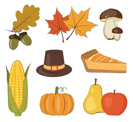 Thanksgiving day vector set Vector