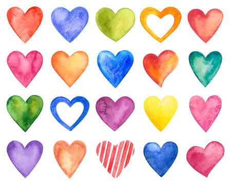 colorful heart: Vector watercolor hearts, Valentine Day.