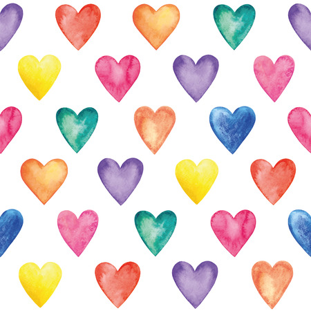 Vector watercolor hearts, seamless pattern. Valentine Day.