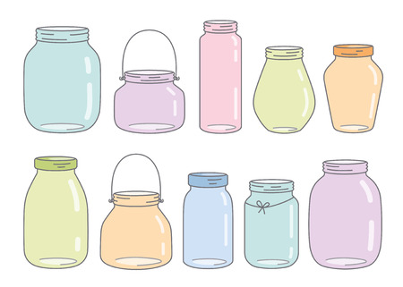 kleurrijke glazen potten