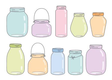 colorful glass jars Illustration