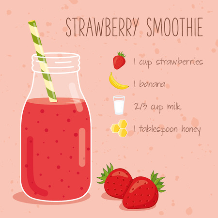 Strawberry smoothie: Strawberry smoothie ricetta Vettoriali