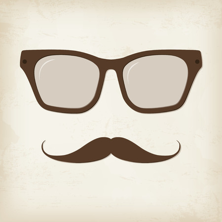 styled: Retro hipster mustache and glasses. Vector card. Illustration