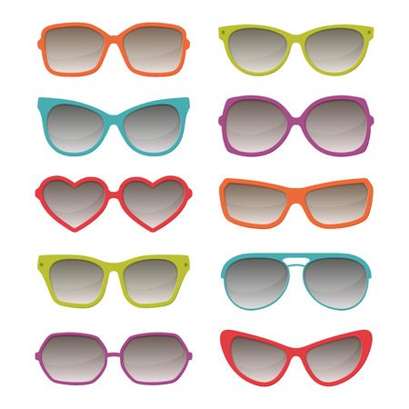 fashion sunglasses: Vector sunglasses color glasses set