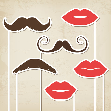 Vector mustaches and lips retro party masks