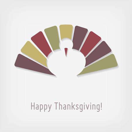 thanksgiving day symbol: Moderna biglietto di auguri di ringraziamento con la Turchia