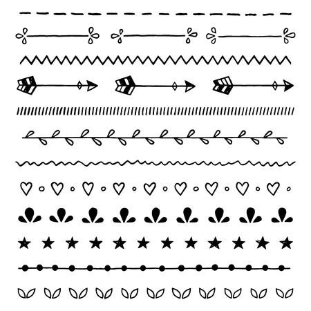 Hand drawn ink doodles, seamless vector borders, brushes, lines