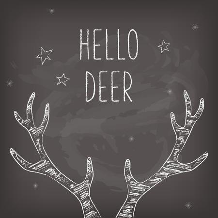 ヒップスター クリスマス カード チョーク鹿の枝角を持つ黒板