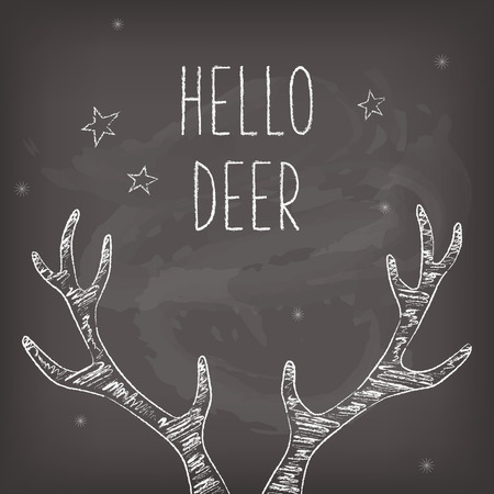 seasons greeting card: Hipster Christmas card with chalk deer antlers, chalkboard Illustration