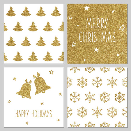 gold colour: Christmas gold pattern, greeting card templates Illustration