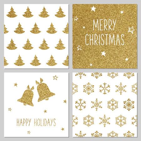 campanas: Patrón de oro de la Navidad, tarjetas de felicitación Vectores