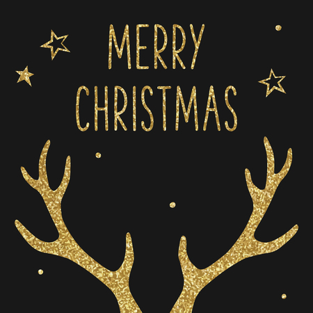 Hipster Christmas card, deer antlers, gold texture