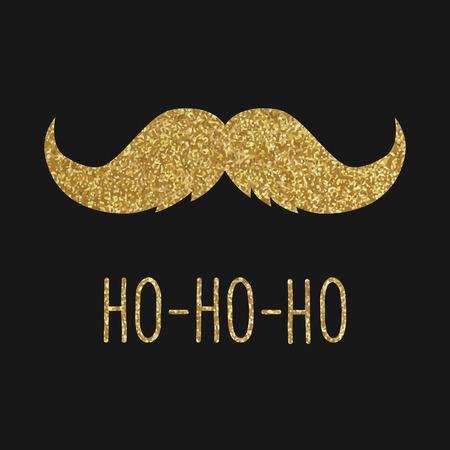 流行に敏感なクリスマス グリーティング カード、ゴールド口ひげ