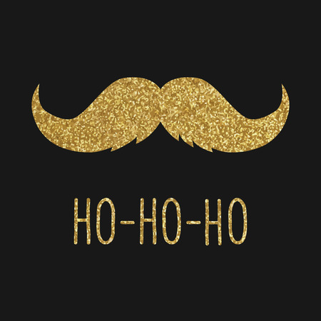 Hipster Christmas greeting card, gold mustache