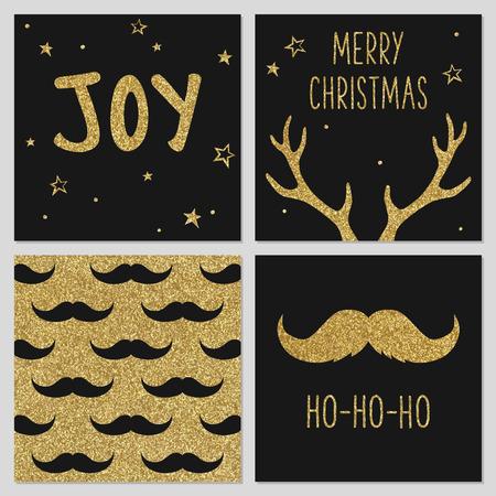 流行に敏感なゴールドのクリスマスのパターン, グリーティング カード テンプレート、口ひげ、鹿の角