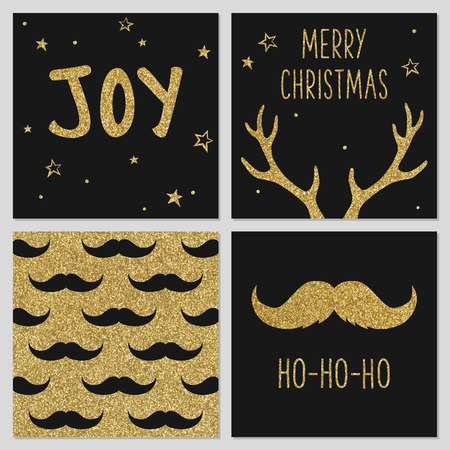 Hipster Christmas gold pattern, greeting card templates, mustache, deer antlers