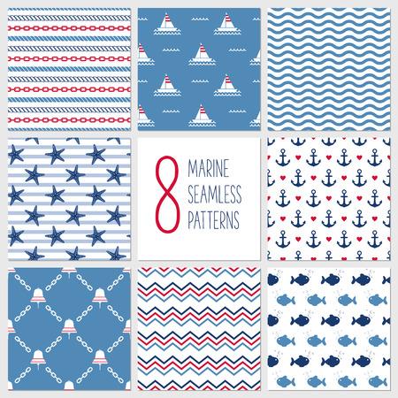 Sea seamless patterns, nautical design, marine elements