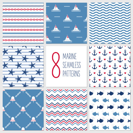 rope vector: Sea seamless patterns, nautical design, marine elements