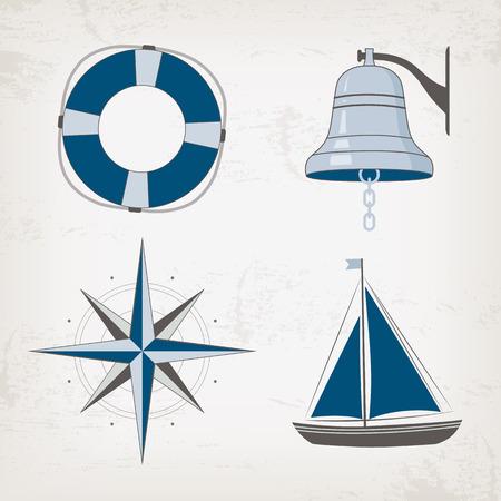 sailboats: Nautical design elements: boat, bell, lifebuoy, compass. Marine illustration.