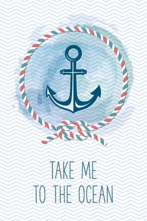 nudos: Tarjeta del mar con el ancla, cuerda, nudo, cita. ilustración marina de la vendimia. Tarjeta de las vacaciones de verano con los elementos del diseño del mar.