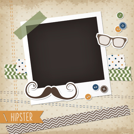 Hipster scrap card with photoframe, mustache and glasses