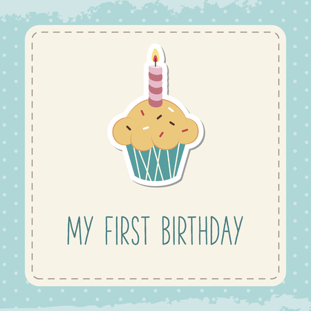 1 year anniversary: Baby birthday card. Greeting card with cupcake and candle.