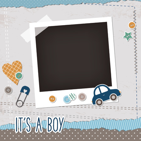 baby toy: Baby boy scrapbook elements, photoframe, buttons, toy car, pin Illustration