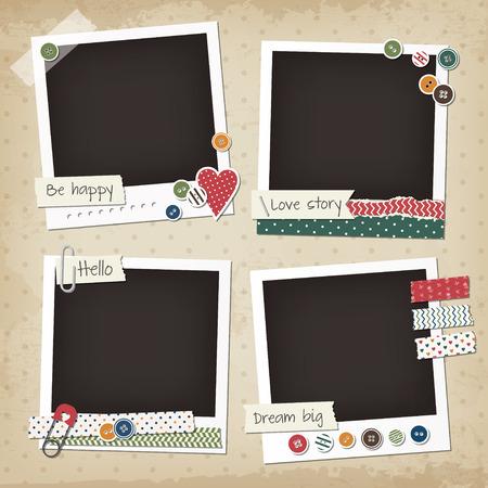 marco cumpleaños: Bloc de notas vintage conjunto de marcos de la foto con los botones, los pegatinas, cintas washi. Elementos de diseño del libro de recuerdos retro. Vectores