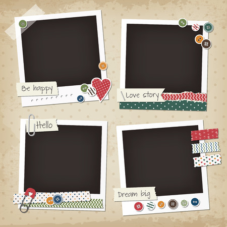 scrapbook frame: Scrapbook vintage set of photo frames with buttons, stickers, washi tapes. Retro scrapbook design elements.