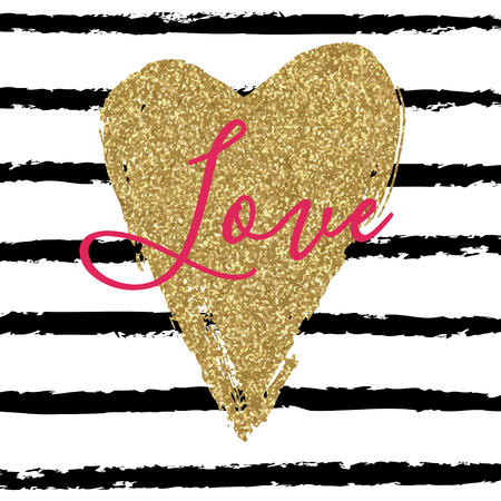 glitter heart: Hand drawn heart on striped background. Valentines day card with gold glitter heart.