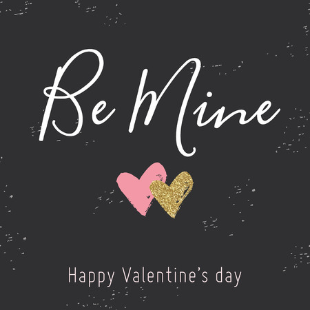 be mine: Valentine Day card with red and gold glitter hearts on black. Calligraphy. Be mine. Design for wedding and valentine.