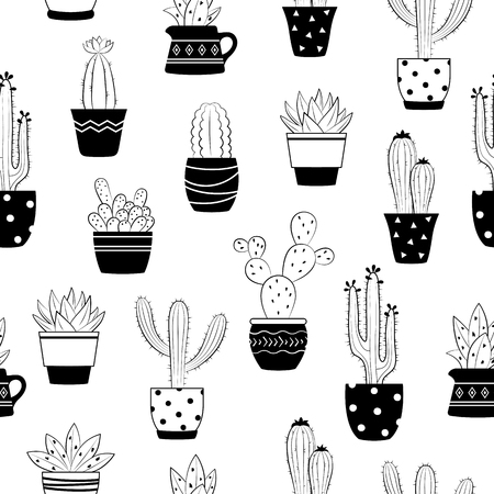 Seamless vector hand drawn cactus and succulents pattern cute black and white seamless vector hand drawn cactus and succulents pattern cute isolated cactus in flower pots mightylinksfo