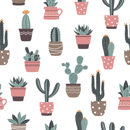 Seamless vector hand drawn cactus and succulents pattern. Cute isolated cactus in flower pots. Illustration