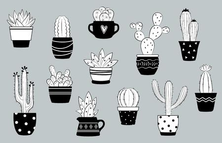 Vektorschwarzweiss-Kaktus und Succulents eingestellt. Netter Kaktus in den Blumentöpfen.