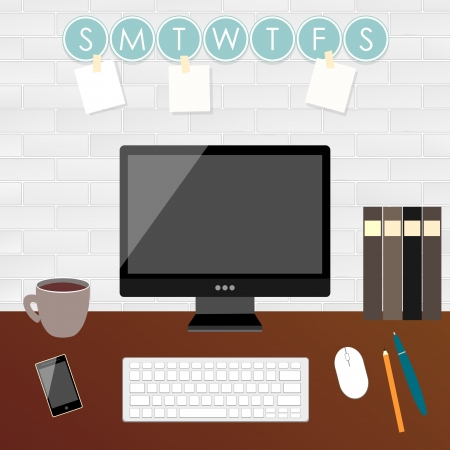 home office desk: Office workplace illustration