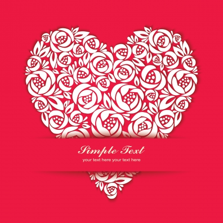 Floral paper-cutting heart  Illustration