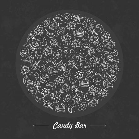 candy bar: Barra de chocolate Dibujo a mano Vectores