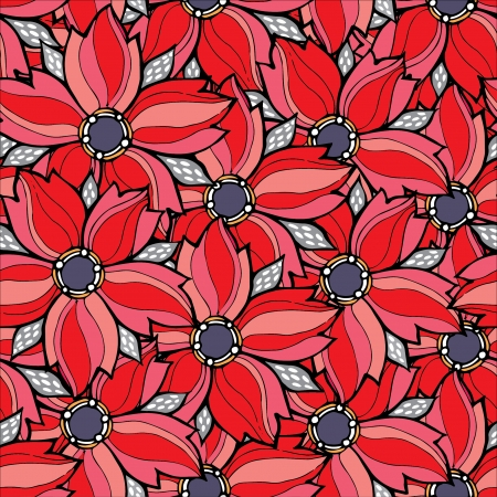 Vector red floral seamless pattern Illustration