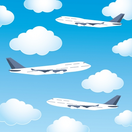blue cloudy sky: Airplanes in the cloudy sky