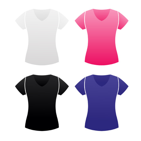Woman t-shirt templates in white and black colors