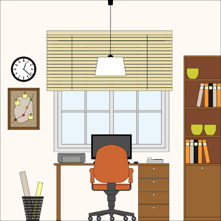 Vector Interior Oficina Productora Workplace ilustraci�n