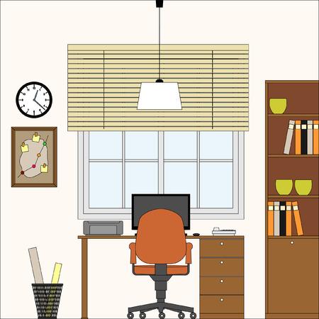 Vector Interni Ufficio Studio Workplace illustrazione Vettoriali