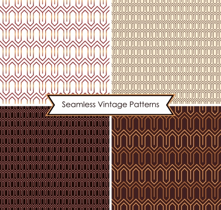 Set of abstract seamless vintage patterns