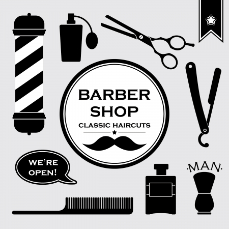 Barbershop Jahrgang Symbole gesetzt Vektorgrafik